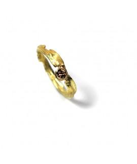 Flourish yellow gold and champagne diamond ring diamond ring