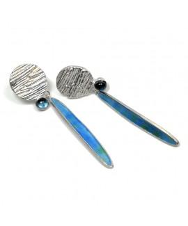 Strata topaz & frond earring