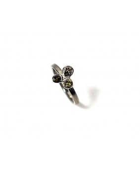 Flourish white gold and coloured diamond ring